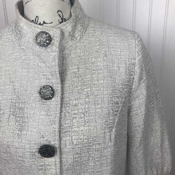 Mossimo Supply Co. Jackets & Blazers - Mossimo White/Silver Crop Button Up Blazer Top